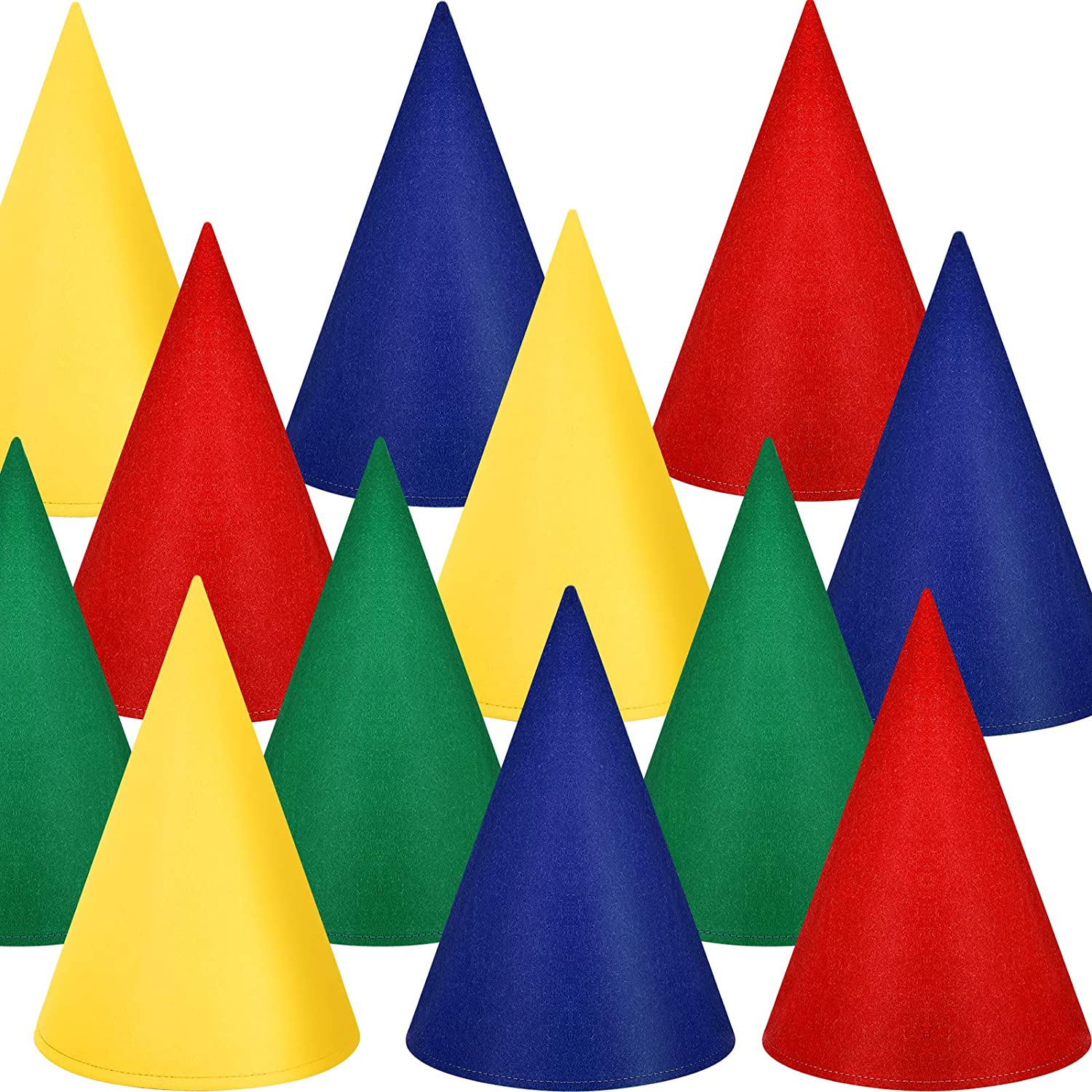 12 Pieces Felt Dwarf Hats Gnome Cone Party Hats Colorful Elf Hat for Costume Accessory Party Favors