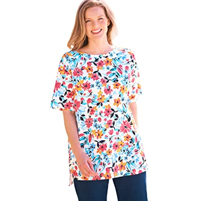 Woman Within Womens Plus Size Perfect Printed Short-Sleeve Boat-Neck Tunic