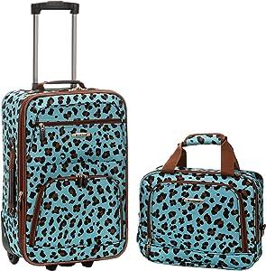 Rockland Fashion Softside Upright Luggage Set, Blue Leopard, 2-Piece (14/19)