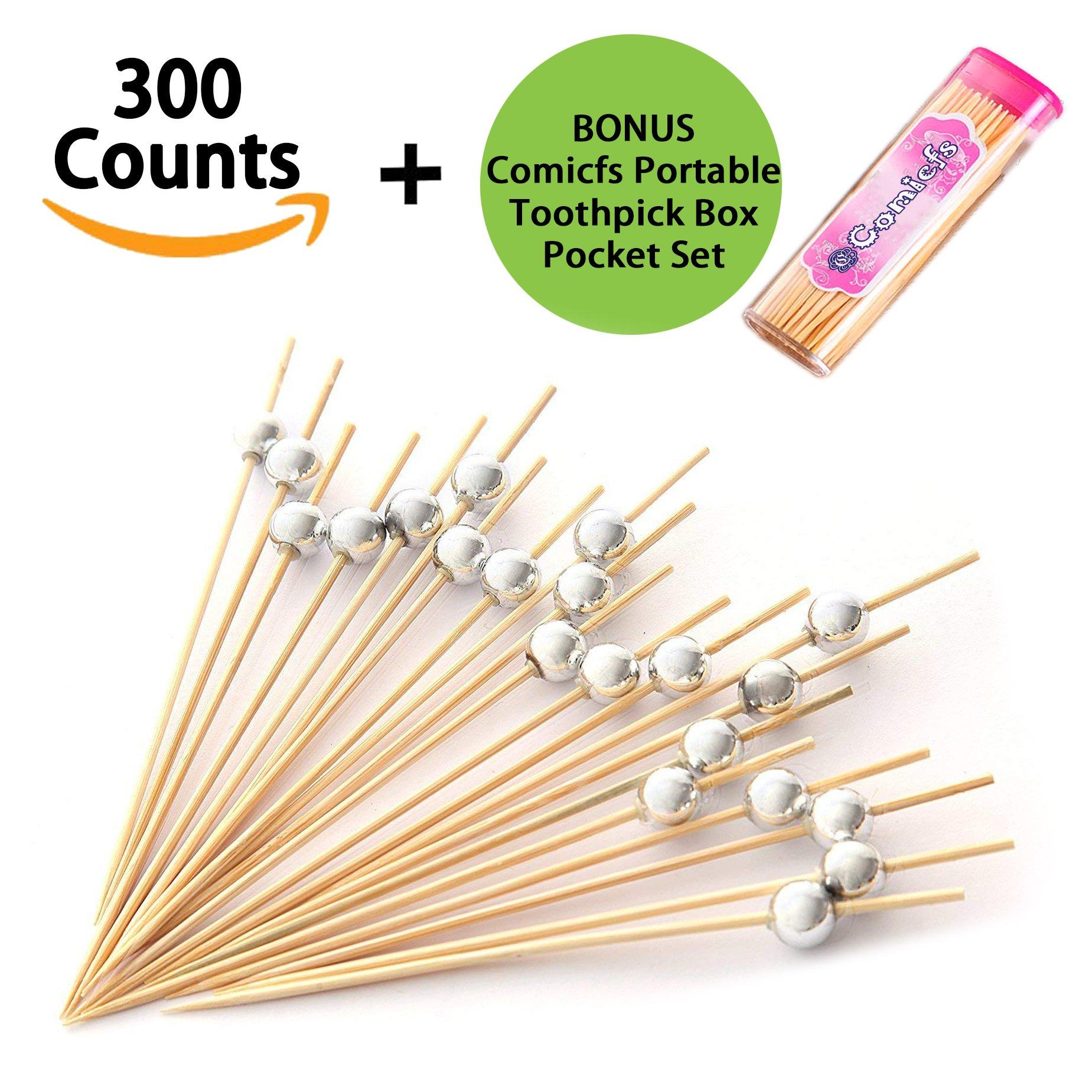 Comicfs Cocktail Picks Handmade Bamboo Toothpicks 4.7'' Party Supplies 300 Counts BONUS Comicfs Portable Toothpick Box Pocket Set, Silver Pearl - 31A