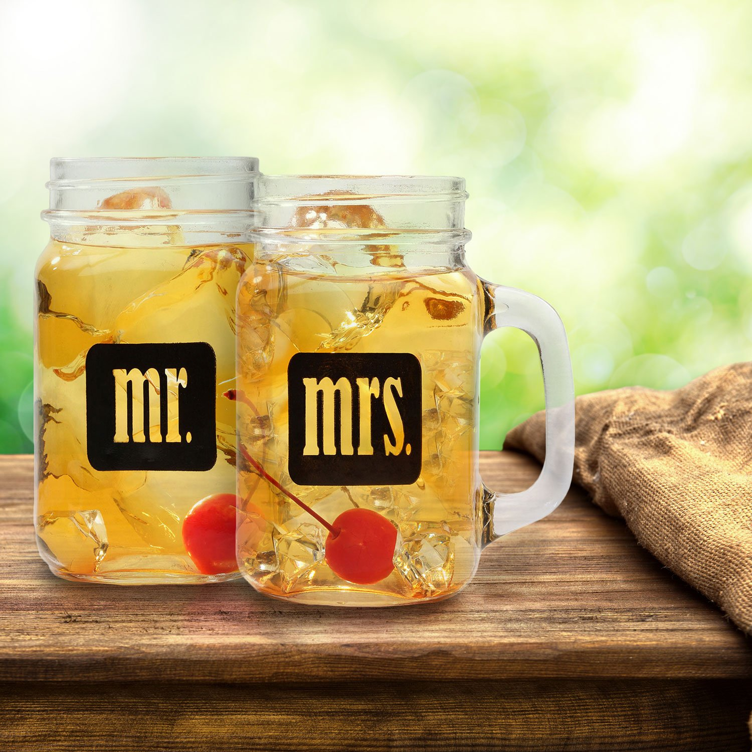 Mr. & Mrs. Mason Jars - Glass Drinking Glasses Set With Gift Box - For Couples - Engagement, Wedding, Anniversary, House Warming, Hostess Gift, 16 oz by Smart Tart Design (Image #3)