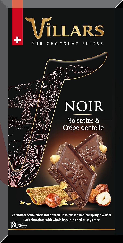 Villars Chocolate Suizo Negro con Avellanas y Barquillo - 180 gr: Amazon.es: Alimentación y bebidas
