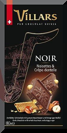 Villars Chocolate Suizo Negro con Avellanas y Barquillo - 180 gr