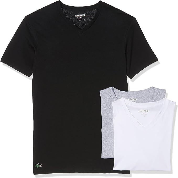 Lacoste Essentials Supima Cotton 3-Pack V-Neck Slim Fit T-Shirt Black//Grey//White