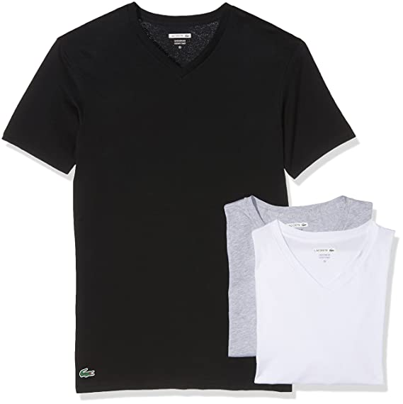 Lacoste Essentials Supima Cotton 3-Pack V-Neck T-Shirt  Amazon.co.uk ... aafc8e7e745c