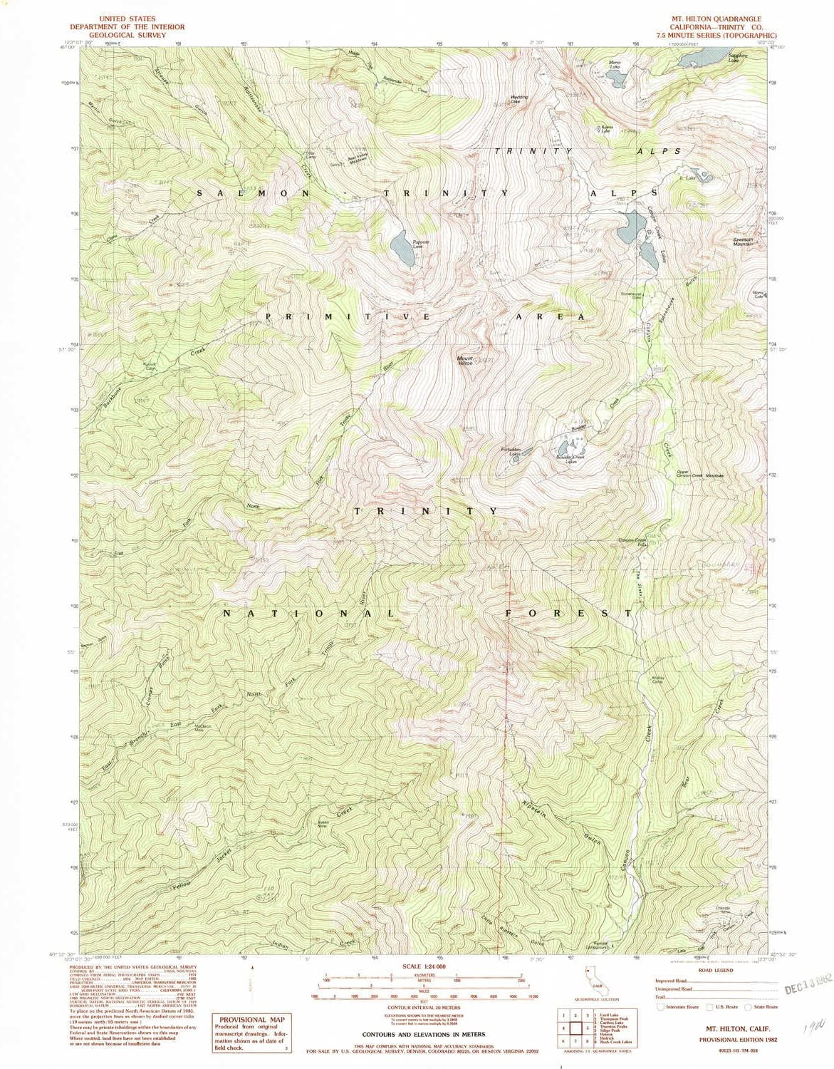 Updated 1982 YellowMaps Mt Hilton CA topo map Historical 26.8 x 22 in 7.5 X 7.5 Minute 1:24000 Scale 1982