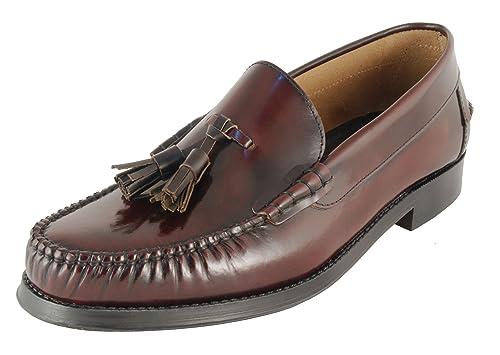 Komo2Flex - Mocasines piel vestir hombre con adorno borlas-liso, talla 46, color burdeos: Amazon.es: Zapatos y complementos