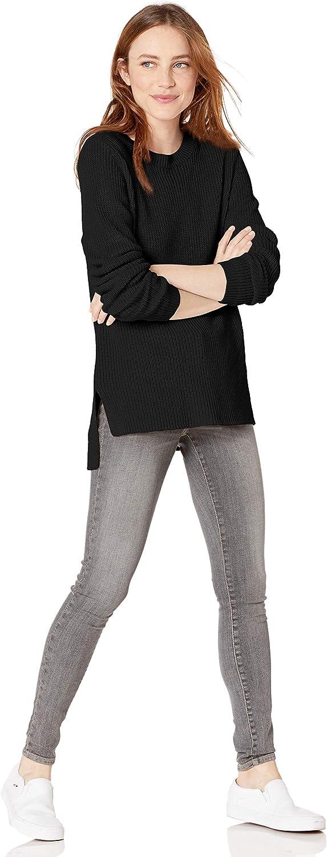 Goodthreads Womens Cotton Half-Cardigan Stitch Crewneck Sweater Brand