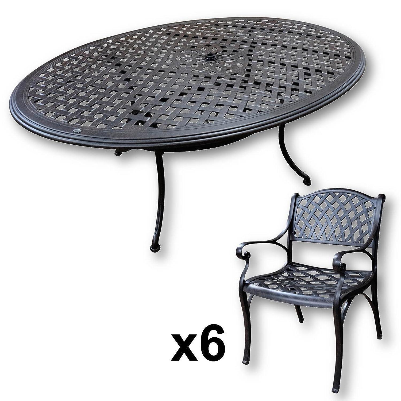 Lazy Susan - NICOLE 180 x 115 cm Ovaler Gartentisch mit 6 Stühlen ...