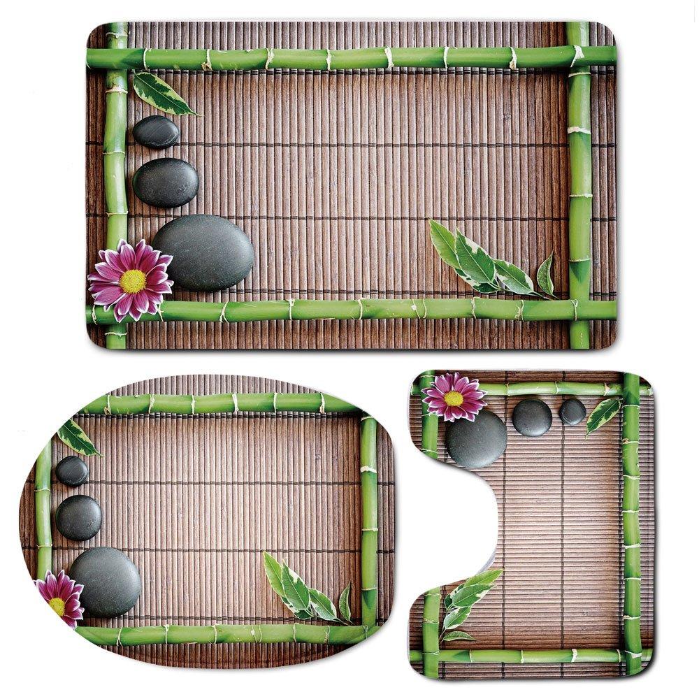 3 Piece Bath Mat Rug Set,Meditation,Bathroom Non-Slip Floor Mat,Spa-Frame-with-Spiritual-Stones-Bamboo-Stems-Orchid-Petals-Yoga-Zen-Philosophy,Pedestal Rug + Lid Toilet Cover + Bath Mat,Multicolor