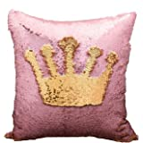 "Magic Reversible Sequins Mermaid Pillow Cases Throw Pillow CoversDecorative Pillowcase 4040cm(1616"") (Gold/pink)"