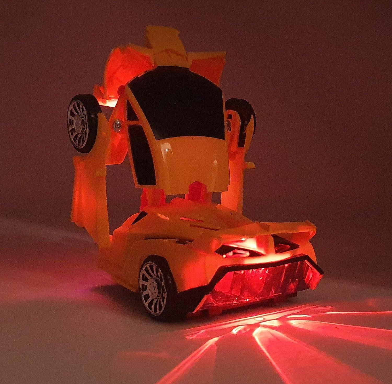 Gr/ün 1:24 Modellauto mit automatischer Verwandlung zum Roboter Mit extra Hellen Leds in Allen Farben und echten Robotersound Super Geschenk Transformer Transfom Supercar,Italienischer Sportwagen