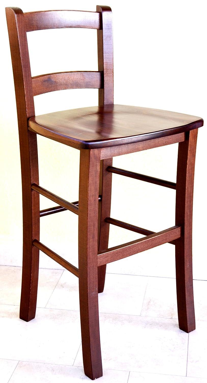 Sgabello Sedia seduta in Legno Noce marrone h 80 cm con schienale ...