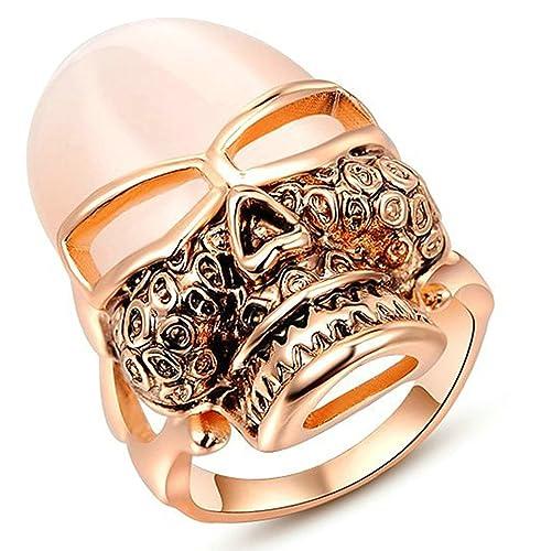Bishilin Chapado en Oro Anillos para Mujeres Skull Cráneo Anillos de Bodas Compromiso Anillo Oro Rosa