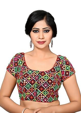 66a3e6c287e183 Amazon.com: Black Kutchi-Bharat Mirror Work Saree Blouse Choli: Clothing
