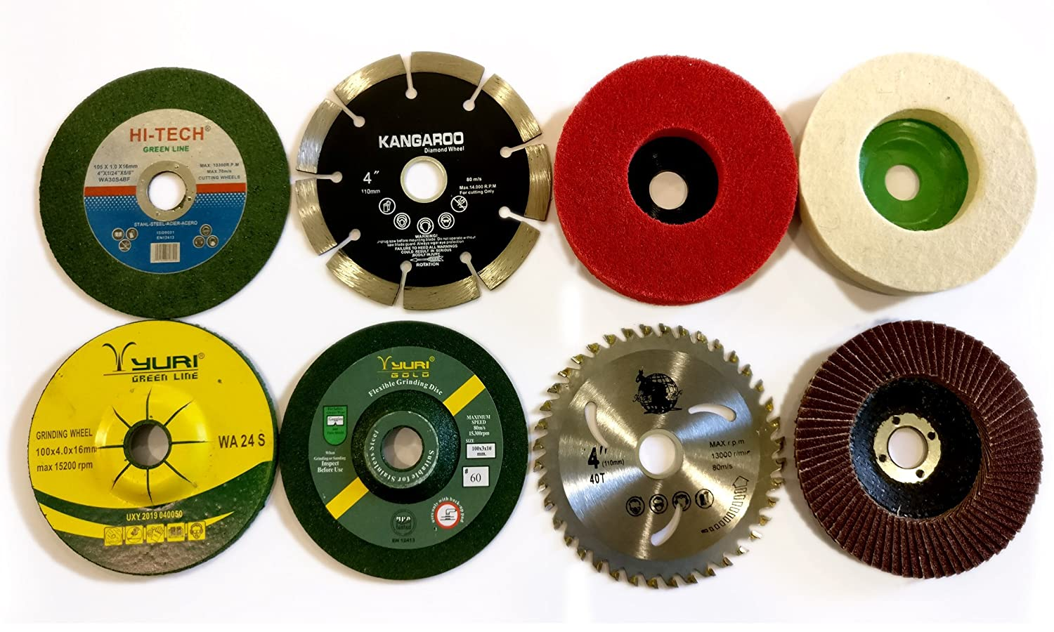 APS 14 Piece Combo Set Of Grinding Wheel Disc Cutting Polishing Buffing Wood Marble Stone Granite Steel Metal Plastic