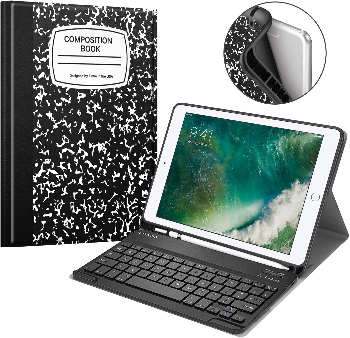 Fintie Keyboard Case for iPad 9.7 2018 with Built-in Pencil Holder, [SlimShell] Soft TPU Back Protective Cover w/Magnetically Detachable Wireless Bluetooth Keyboard, Composition Book Black
