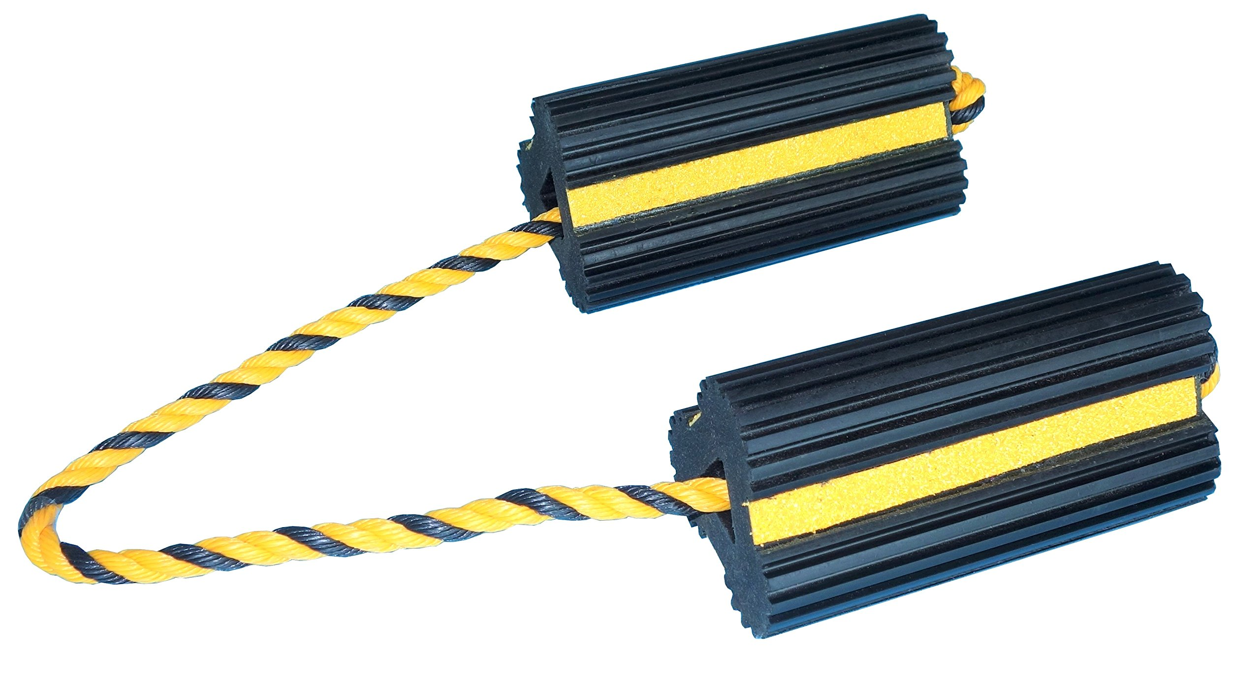 YM W4255 Extruded Rubber Wheel Chock with Rope, 8'' Width, 4'' Height, 4-1/2'' Depth