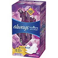 Always Radiant Feminine Pads for Women, Size 1, Regular Absorbency, Light Clean Scent, 30 Count