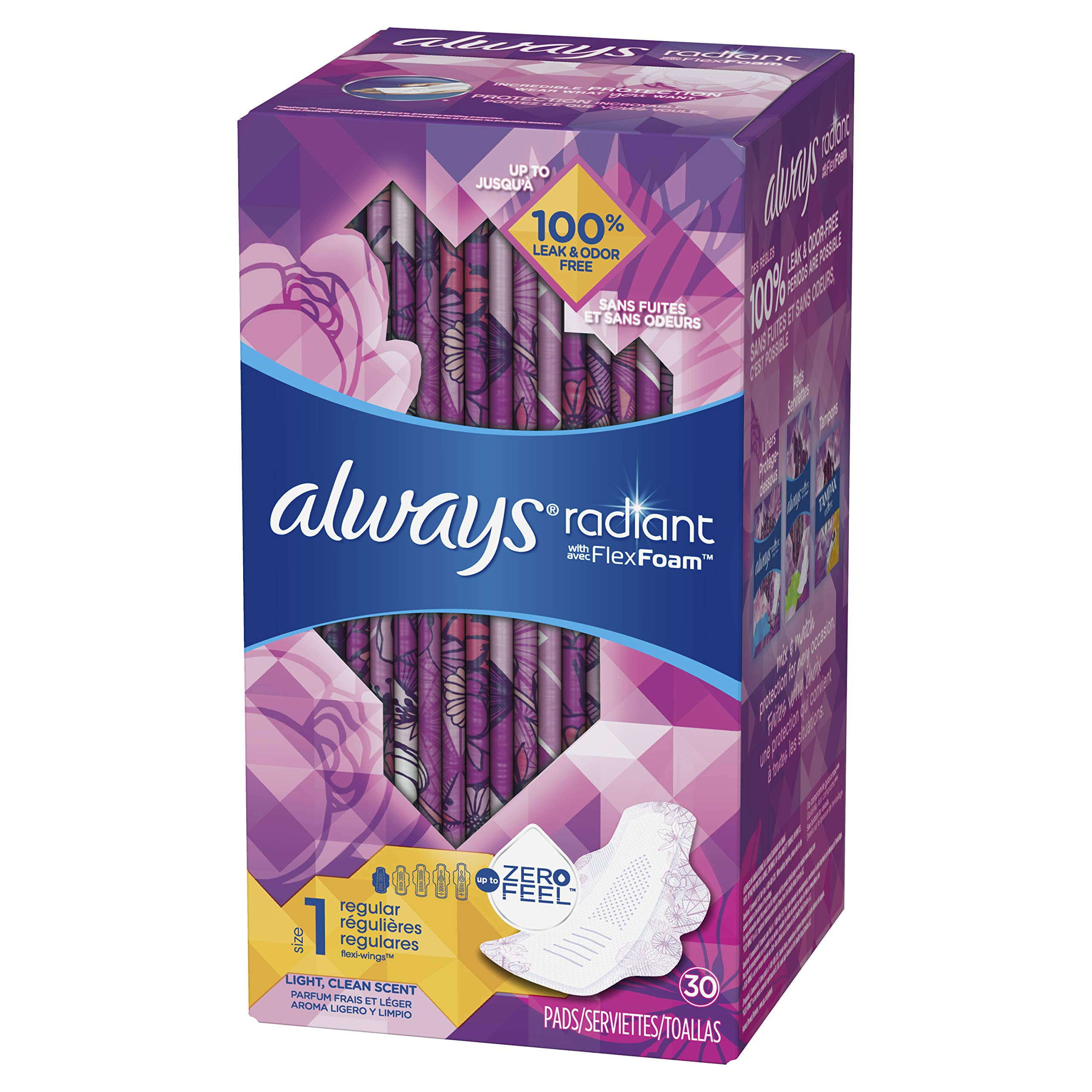 Always Radiant Feminine Pads for Women, Size 1, Regular Absorbency, Light Clean Scent, 30 Count- Pack of 6 (180 Count Total) (Artwork May Vary) by Always