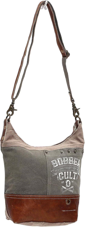 Brown One/_Size Myra Bag Bobber Upcycled Canvas Shoulder Bag S-0949 Khaki Tan