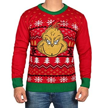 dr seuss the grinch ugly face sweater adult christmas sweater for mens by miracle - Grinch Ugly Christmas Sweater