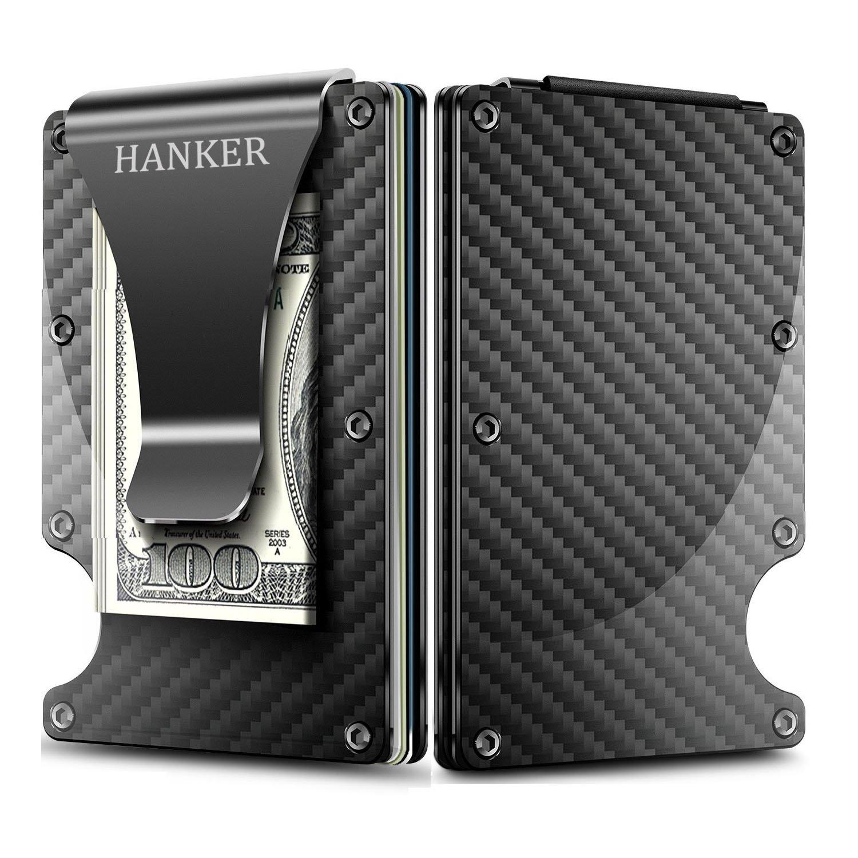 Carbon Fiber Slim Minimalist Wallet RFID Blocking Credit Card Holder Money Clip