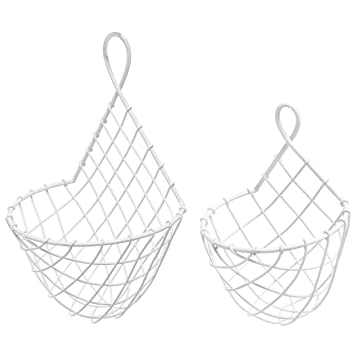 Amazon.com - (Set of 2) Wall Mounted White Woven Metal Wire ...