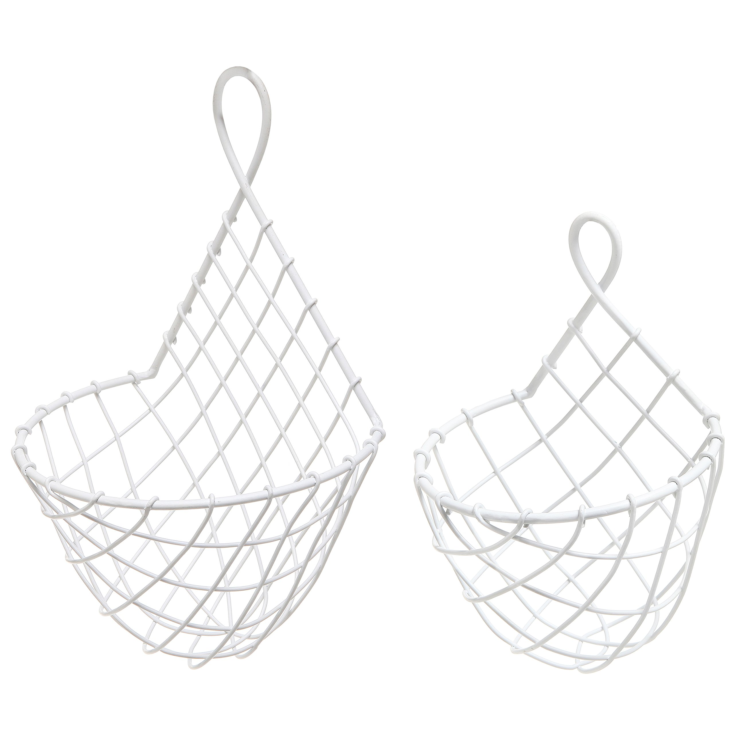 (Set of 2) Wall Mounted White Woven Metal Wire Hanging Fruit & Produce Holder / Flower & Plant Baskets