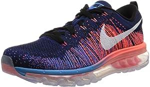 bb56640b3728 Nike Mens Flyknit Max Mens Running Shoes BLACK WHTE-BLUE GLOW-BRIGHT MANGO