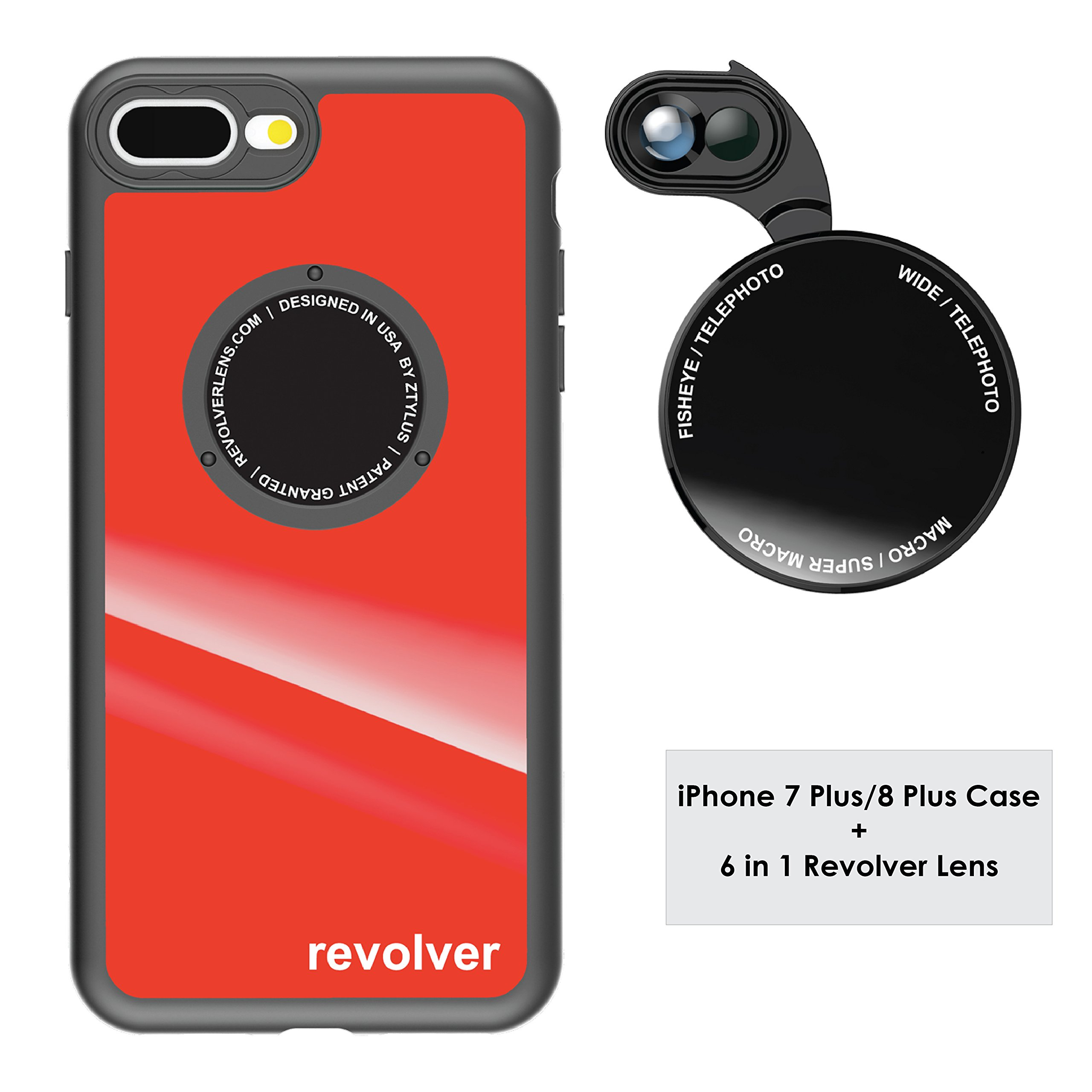 Funda y 6  Lentes Ztylus Revolver p/ iPhone 7/8 Plus - Red
