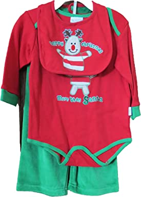 4f49ea7a3886 Reindeer Merry Christmas I Love You More Than Santa Bodysuit, Pants, bib Baby  Outfit
