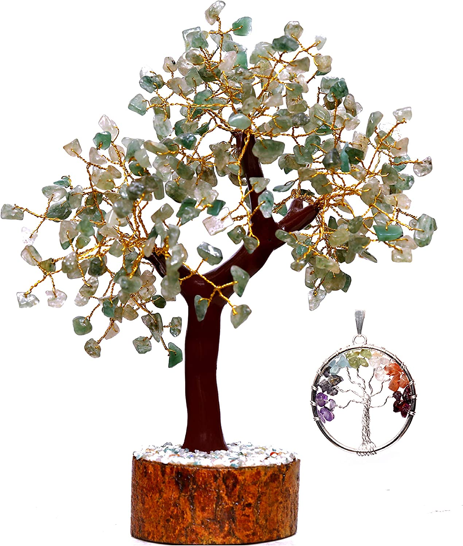 Crystals Healing Stones Seven Chakra Green Aventurine 300 Gemstones Tree (Tree of Life Pendant Gift) Feng Shui Bonsai Money Crystal Quartz Christmas Home Decor Tree Size 10-12 Inches Gold Wire