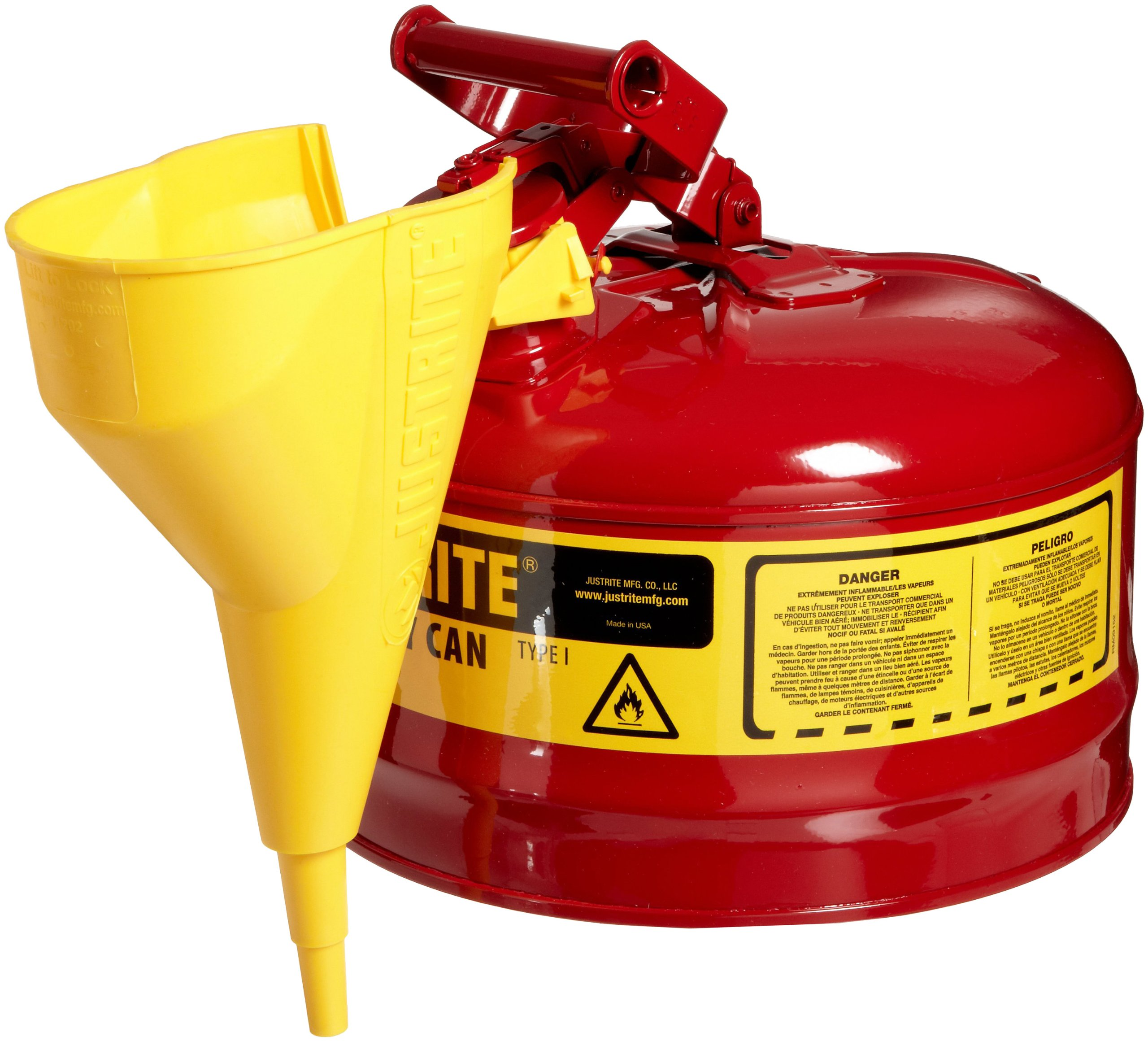 Justrite 7125110 2 Gallon, 11.75'' OD x 11.50'' H Galvanized Steel Type I Red Safety Can With Funnel