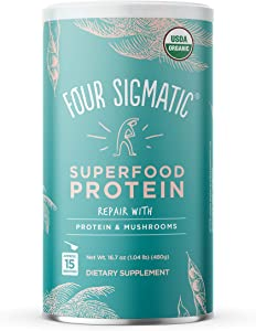 Four Sigmatic Superfood Protein, Organic Plant-Based Protein with Chaga Mushroom & Ashwagandha, Supports Immune Function & Muscle Repair, Blends Smoothly + Unflavored, 16.7 oz