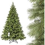 FAIRYTREES artificiale Albero di Natale ABETE REALE PREMIUM, mix di materiali tra pressofuso e PVC, incl. supporto in metallo, 180cm, FT18-180
