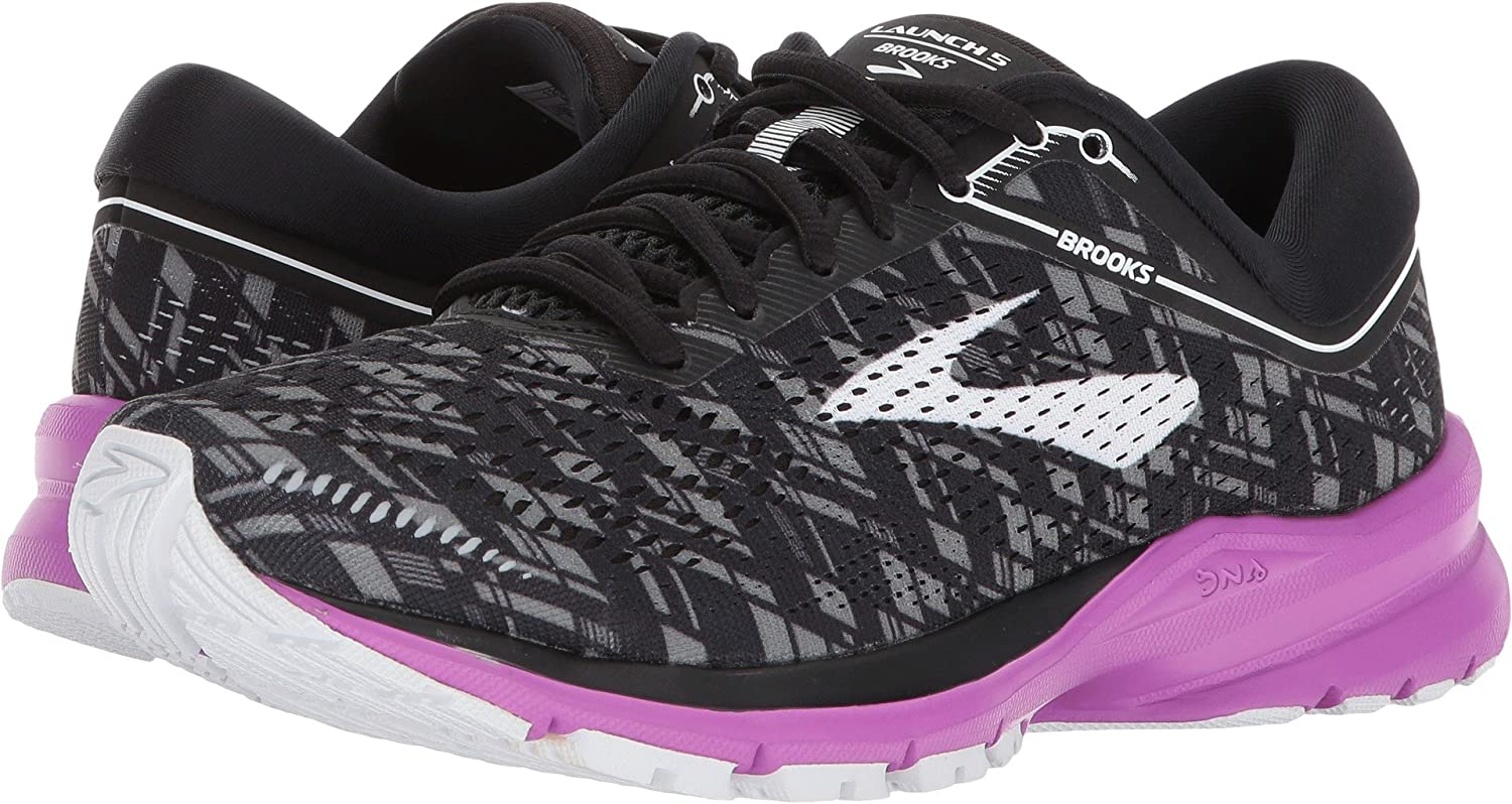 Brooks Womens Launch 5 B0722W4XFZ 11 B(M) US|Black/Purple/Print