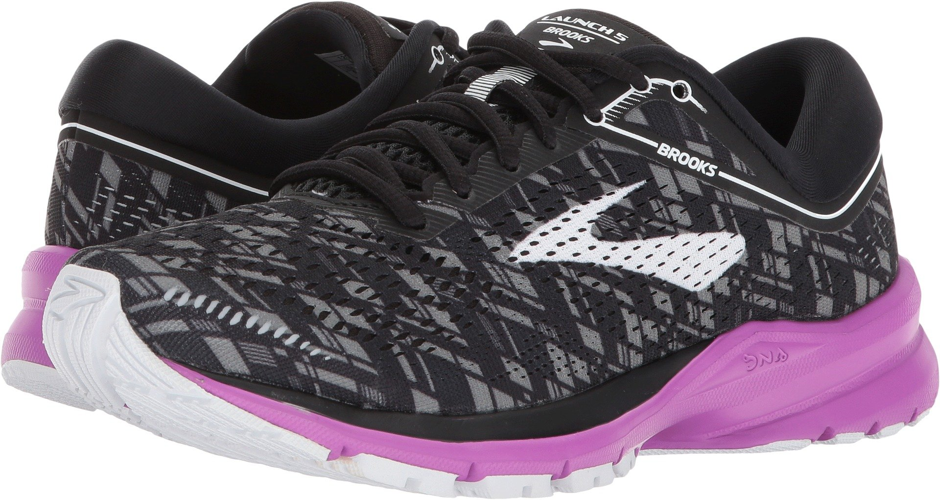 Brooks Women's Launch 5 Black/Purple/Print 10 B US