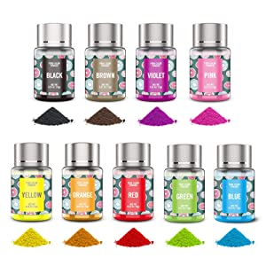 Powder Food Coloring for Cake Decorating - 9 Colors Oil Water Based Powdered Food Dye Cake Color for Kids, Vibrant Edible Baking Icing Colors Set for Chocolate Candy Fondant Macaron Cookies (4.8 OZ)