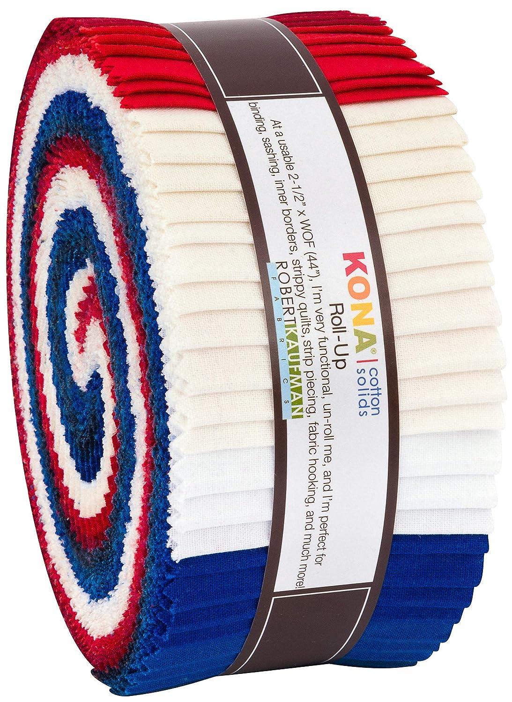 Robert Kaufman Kona Cotton Solids Patriotic Roll Up 2.5 Precut Cotton Fabric Quilting Strips Jelly Roll Assortment RU-779-40