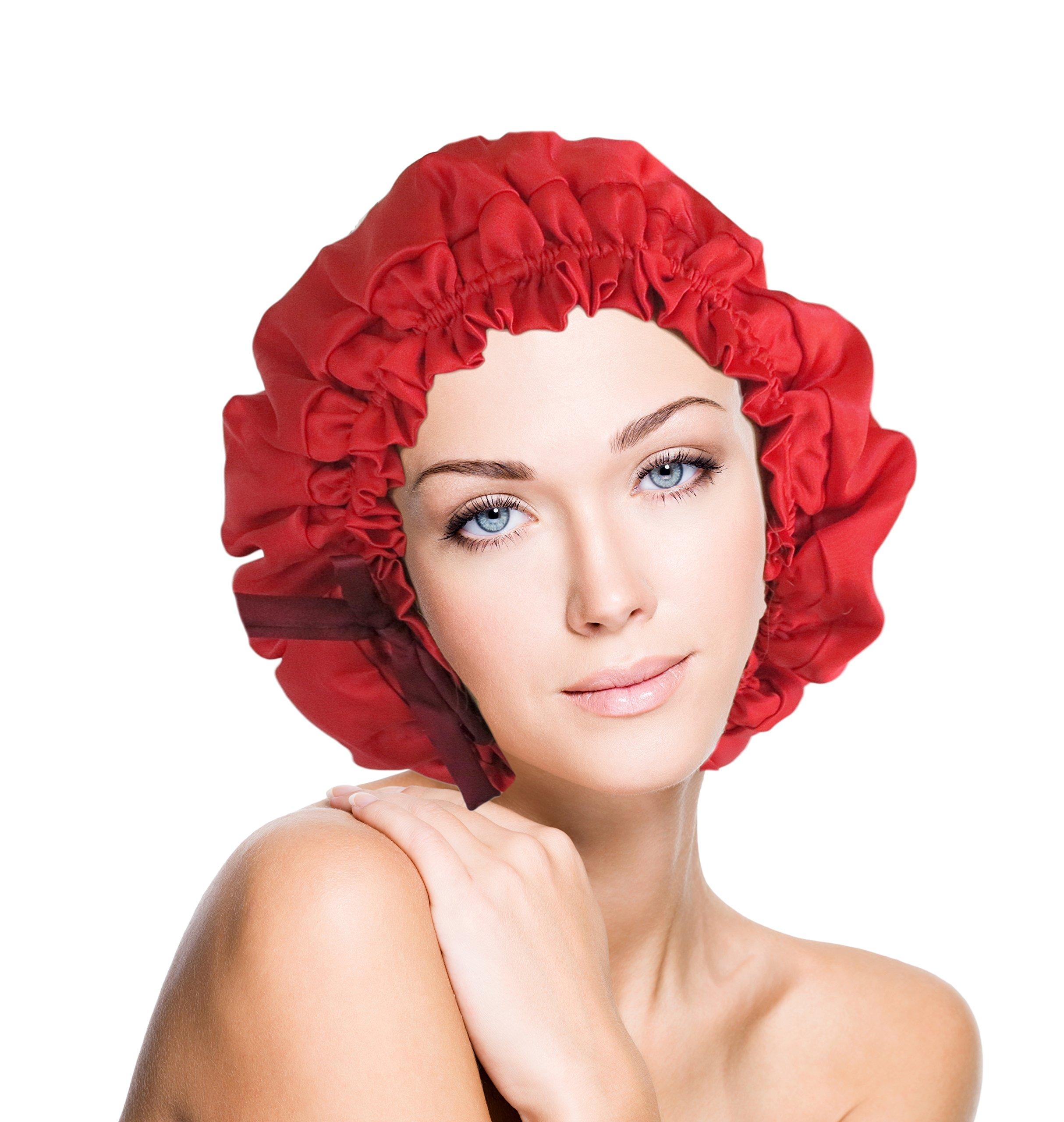 vangobeauty Silk Sleep Cap Bonnet Hat Adjustable Sexy Bright Red