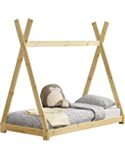 [en.casa]®] Cama para niños pequeños Cama Infantil 160 x 80cm Estructura Tipi de Madera Pino Color Pino Natural