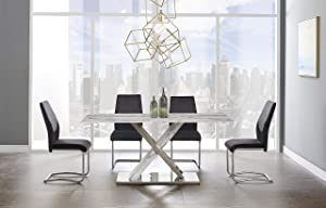 Global Furniture USA White & Grey Dining Table, Marble