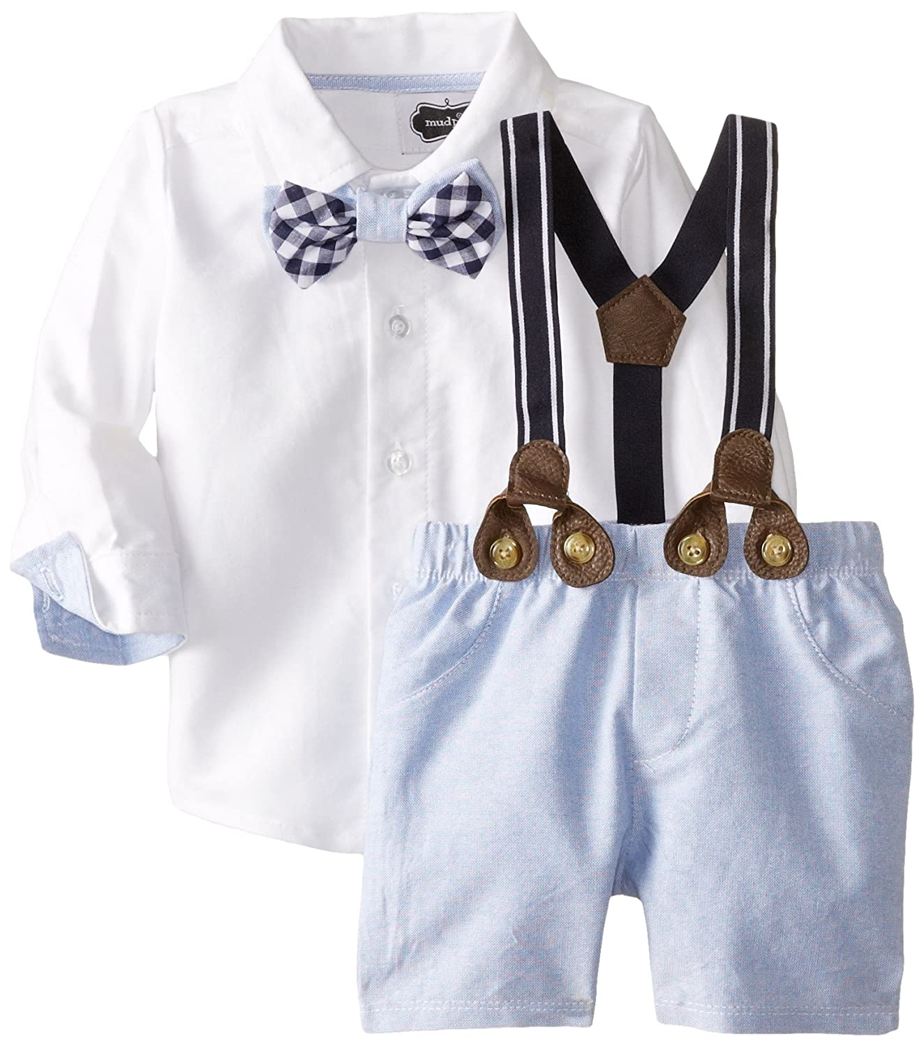 1930s Childrens Fashion: Girls, Boys, Toddler, Baby Costumes Mud Pie Baby Boys Suspender Short Set $45.99 AT vintagedancer.com