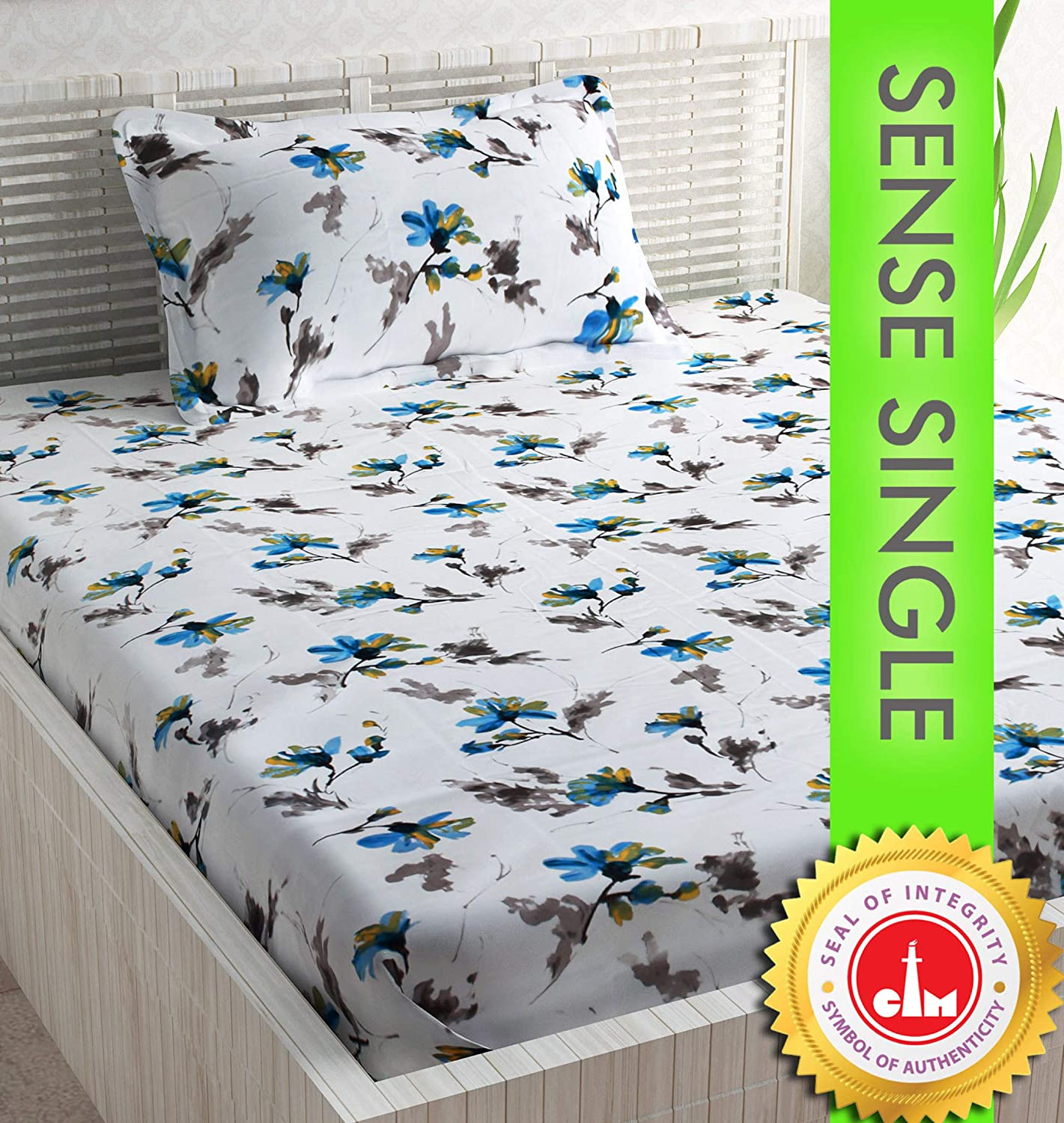 Divine Casa 100% Cotton Floral Single Bedsheet with 1 Pillow