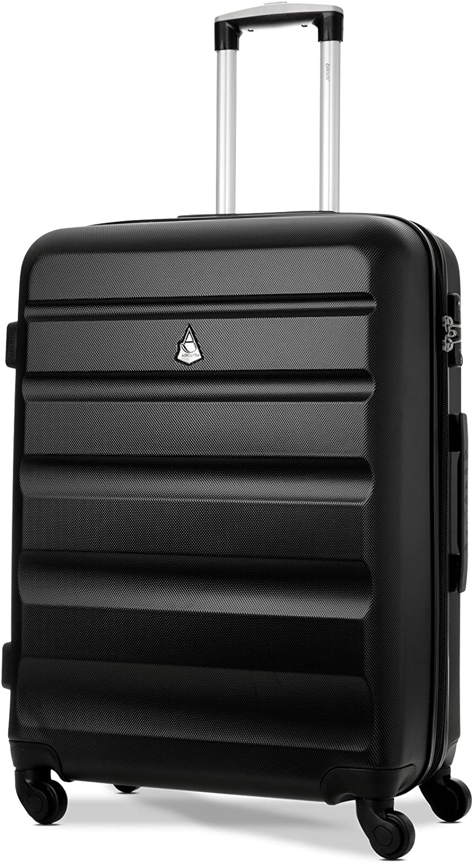 Aerolite ABS Equipaje Maleta rígida Ligera con 4 Ruedas y Cerradura de combinación integrada aprobada por la TSA, 69cm, Negro