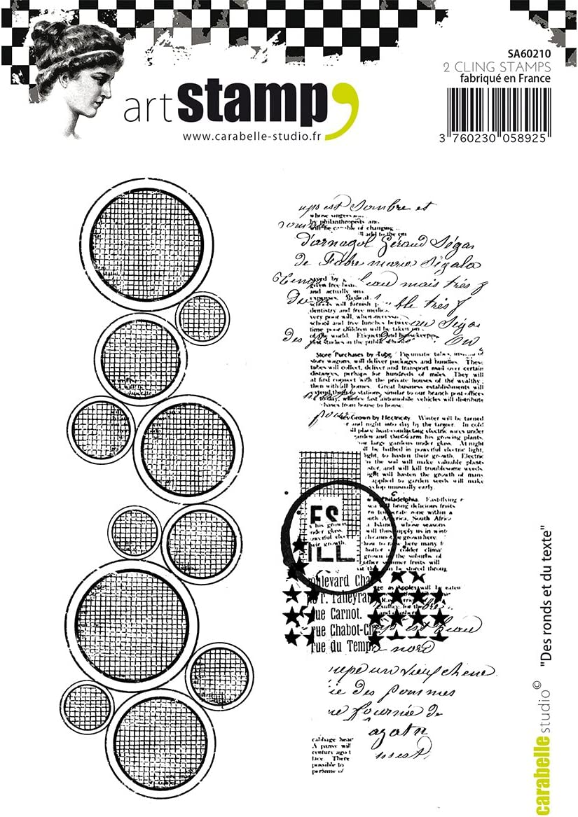 Carabelle Studio Circles /& Text Cling Stamp A6