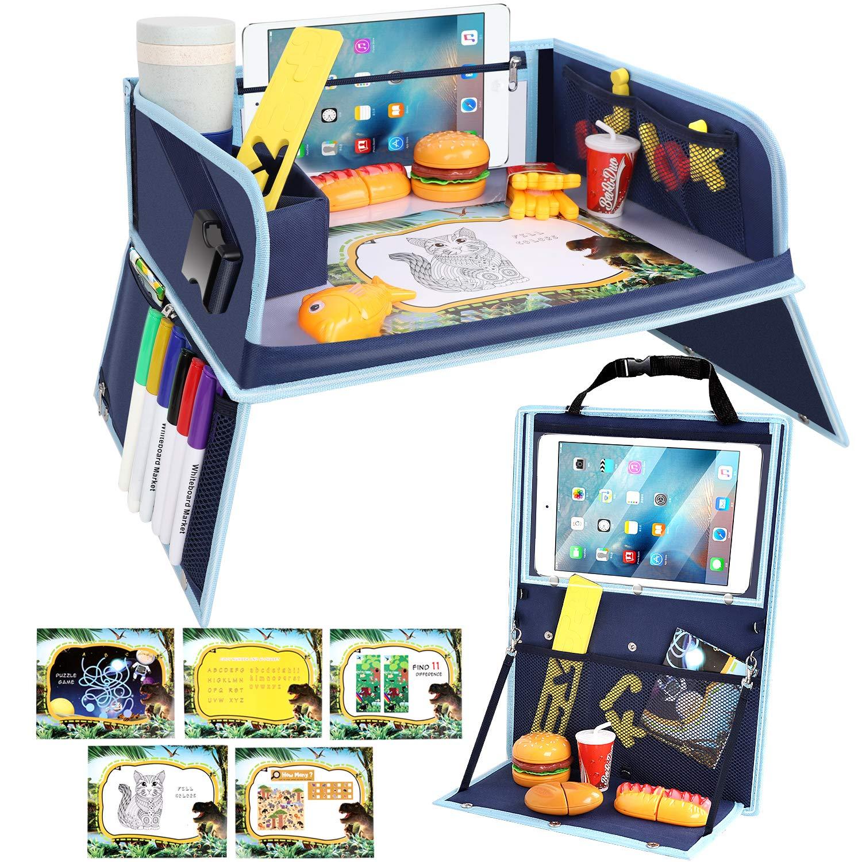 Multifunktionaler Kinderspieltisch mit Transparenter Zeichenfolie 6 Buntstifte Autositz-R/ückenprotektor Kinder Reisetisch mit Doppelfunktion Kinderreisetisch Knietablett Kinder 5 Zeichenpapier
