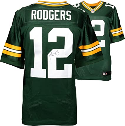 wholesale dealer 16565 fe9df Aaron Rodgers Green Bay Packers Autographed Nike Green Elite ...