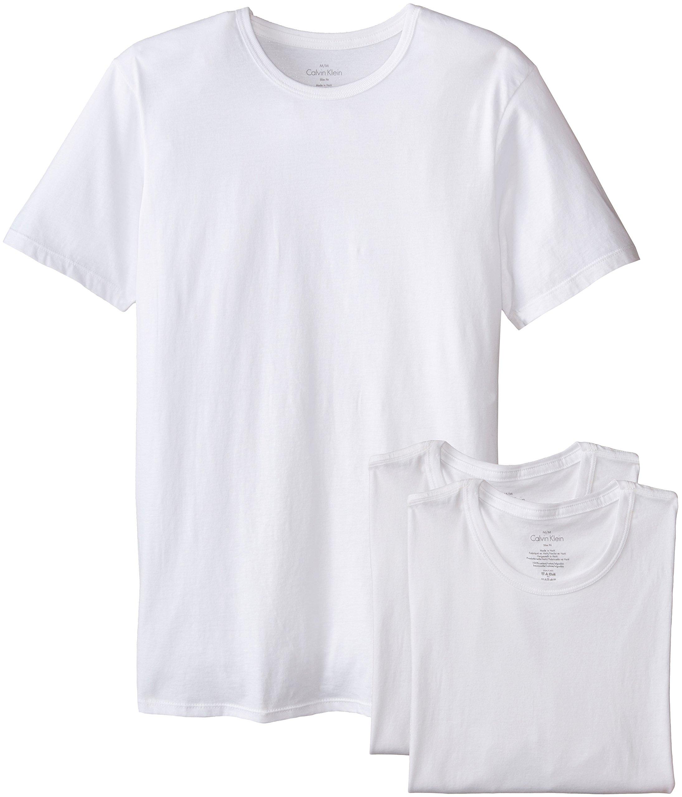 Calvin Klein Men's Cotton Classics Slim Fit  Crew Neck T-Shirt, White, Large by Calvin Klein